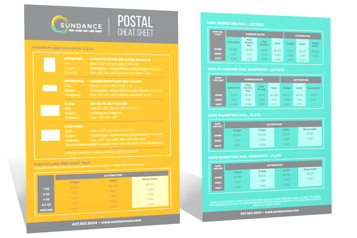 Postal Rate Cheat Sheet For Bulk Mailing